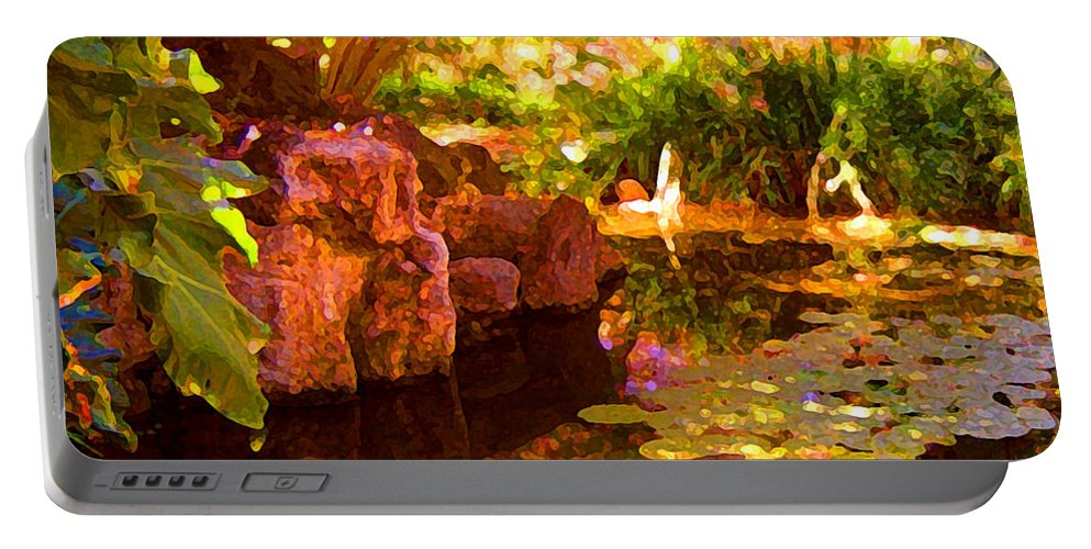 Water Landscape Portable Battery Charger featuring the painting Hidden Pond by Amy Vangsgard