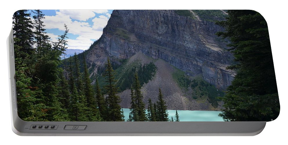 Lake Louise Portable Battery Charger featuring the photograph High Above by Deanna Cagle