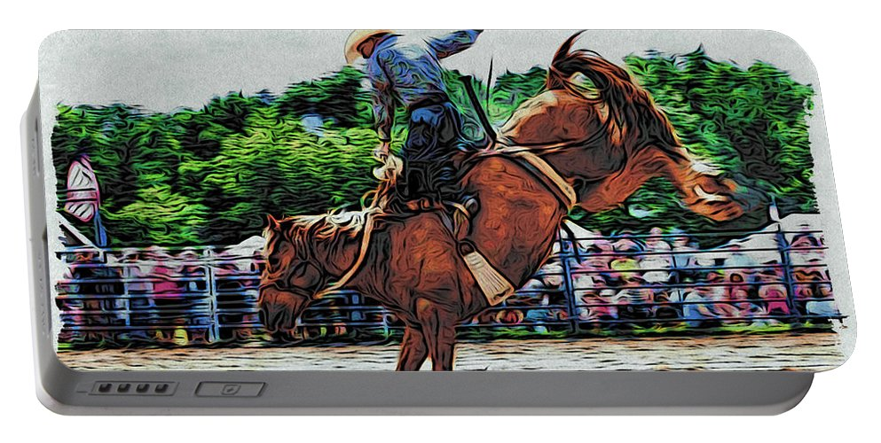 Rodeo Portable Battery Charger featuring the photograph High In The Air by Alice Gipson