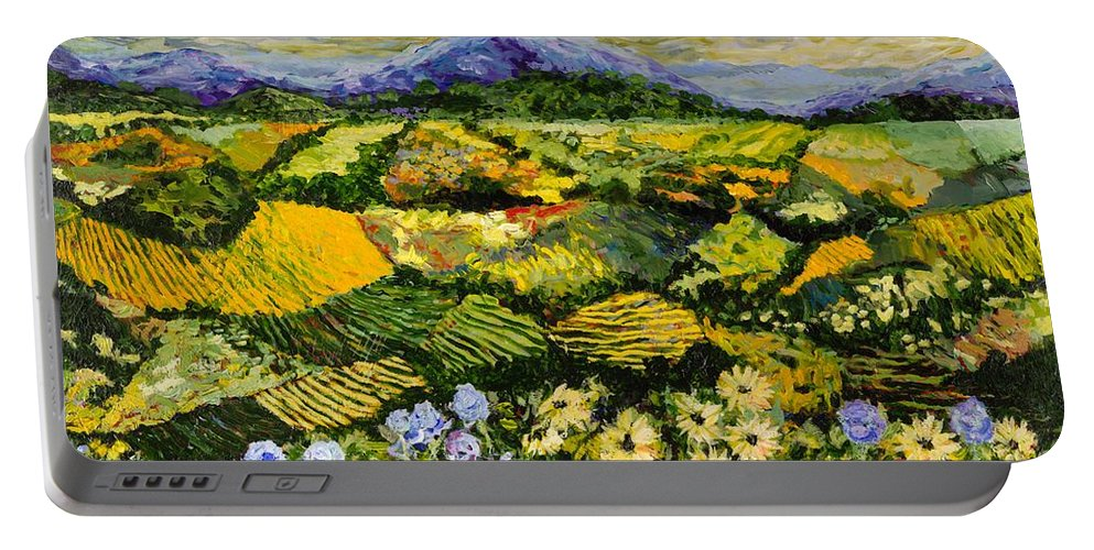 Landscape Portable Battery Charger featuring the painting High Journey by Allan P Friedlander
