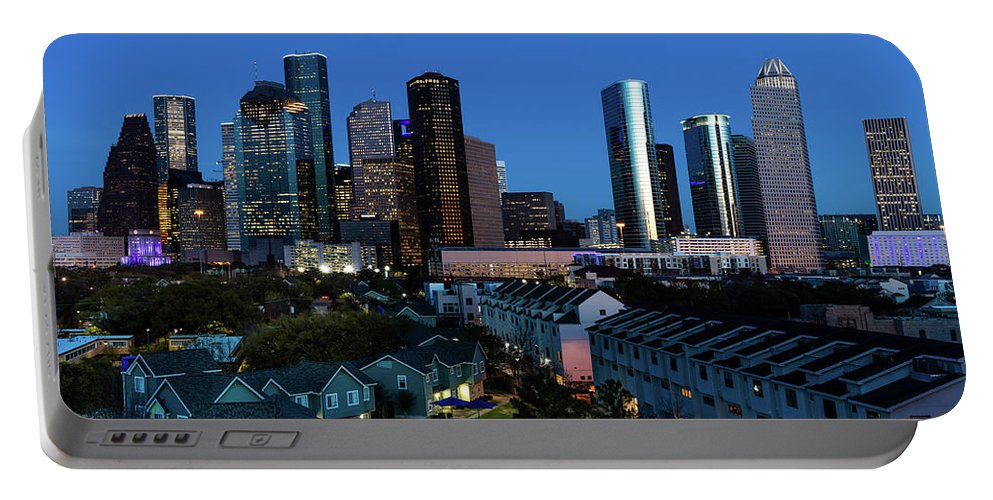 Photography Portable Battery Charger featuring the photograph High Rise Buildings In Houston by Panoramic Images