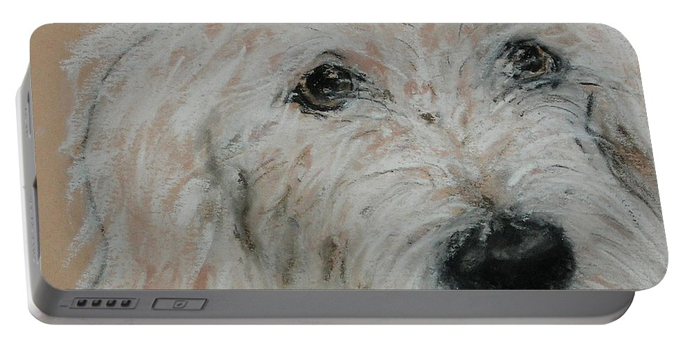 Dog Portable Battery Charger featuring the pastel High Spirits by Cori Solomon