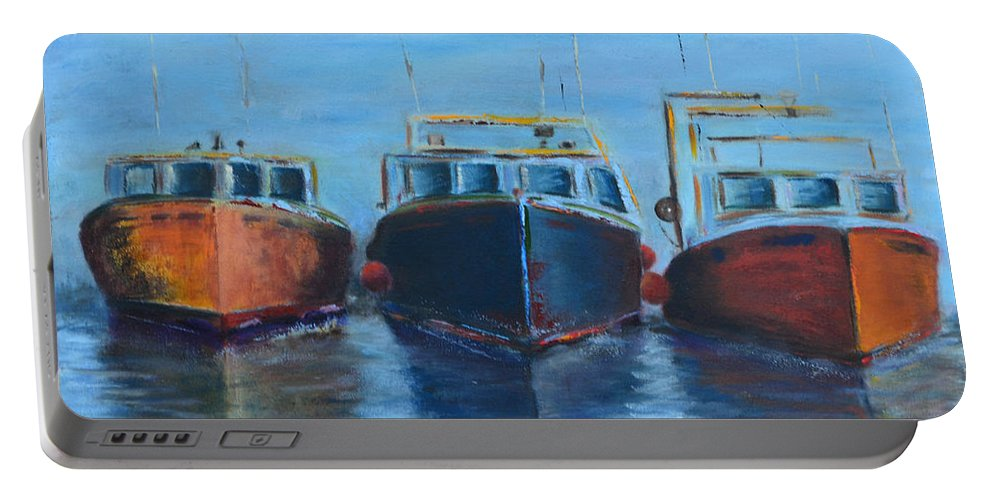 High Tide Breton Harbor Boat Black Yellow Red Ocean Sea Craft Ship Fishing Three Float Travel Sky Seascape Clouds Move Speed Journey Movement Motion Wave Blue Portable Battery Charger featuring the painting High Tide Breton Harbor by Patricia Caldwell
