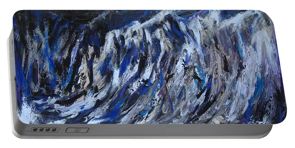 Abstract Art Paintings Portable Battery Charger featuring the painting High Tide by Christine Cobden