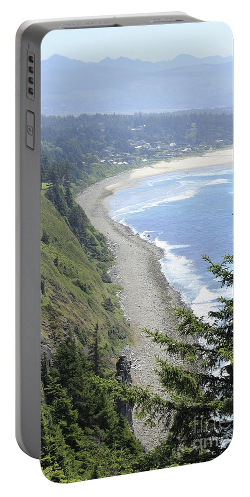 High Portable Battery Charger featuring the photograph High View Of Oregon Coast by Lee Serenethos
