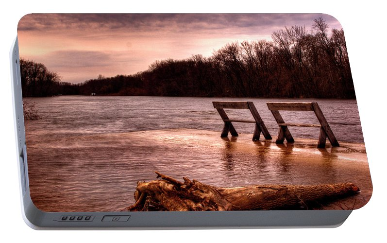High Water Portable Battery Charger featuring the photograph High Water On The Wolf River by Thomas Young