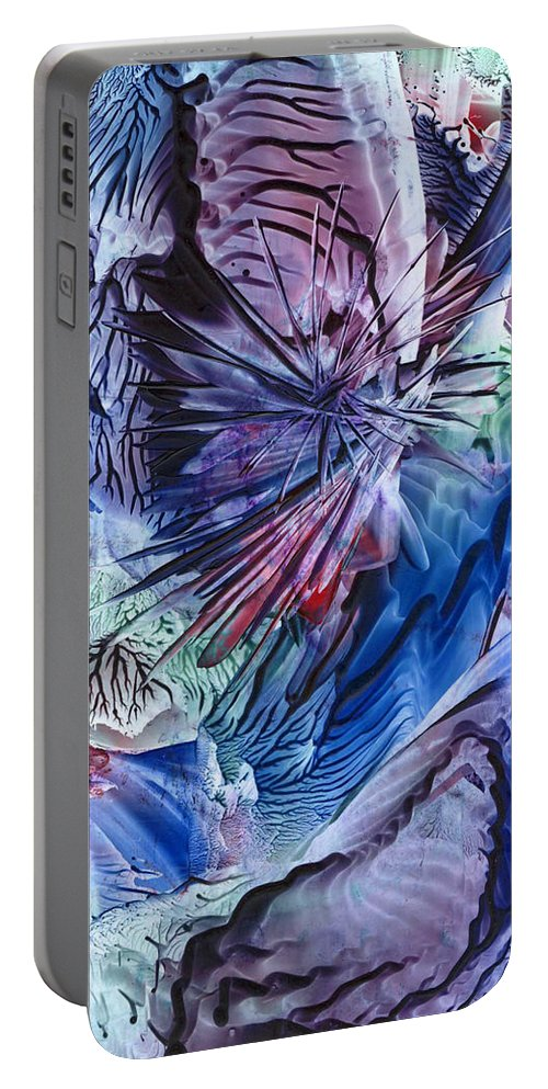 Encaustics Portable Battery Charger featuring the painting Higher Soul by Cristina Handrabur