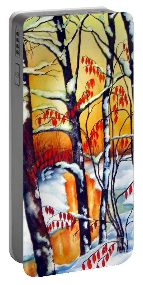 Winter Painting Portable Battery Charger featuring the painting Highland Creek Sunset 2 by Inese Poga