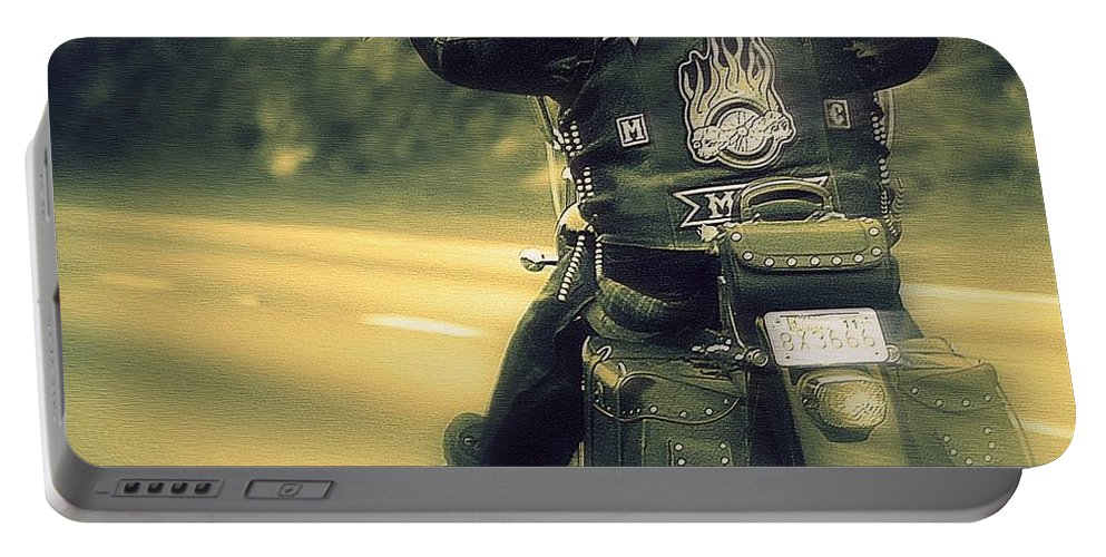 Motorcycle Art Portable Battery Charger featuring the photograph Highway Flyer by Marysue Ryan