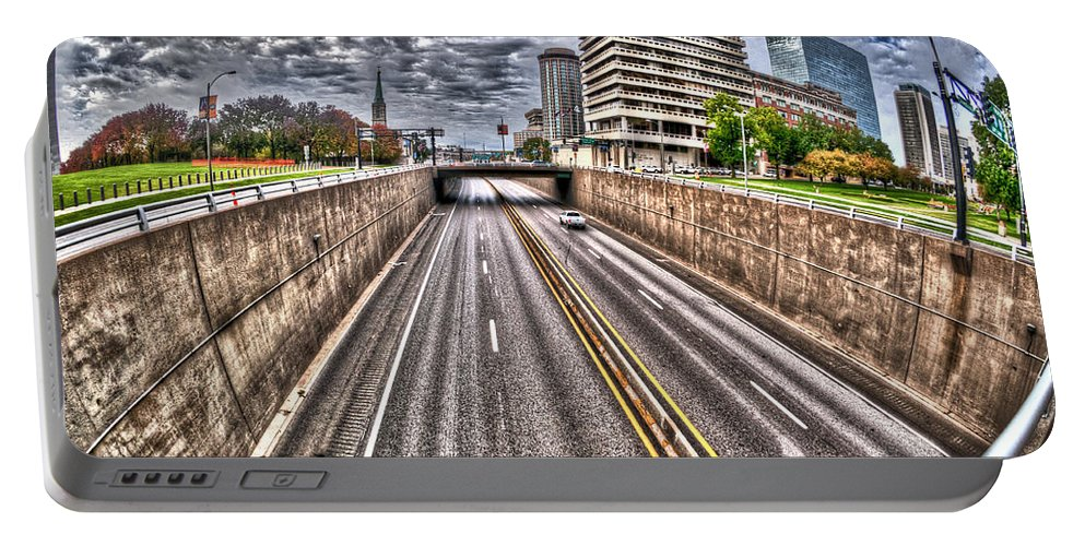 Hdr Image Portable Battery Charger featuring the photograph Highway Into St. Louis by Deborah Klubertanz