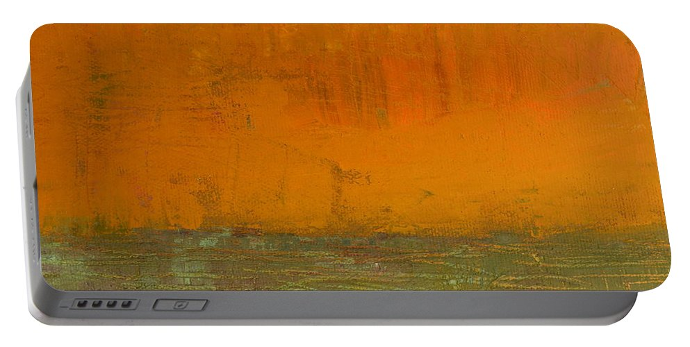 Abstract Expressionism Portable Battery Charger featuring the painting Highway Series - Grasses by Michelle Calkins
