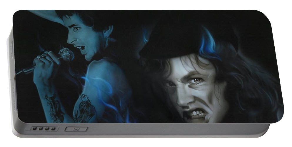 Acdc Portable Battery Charger featuring the painting Highway to Bon by Christian Chapman Art