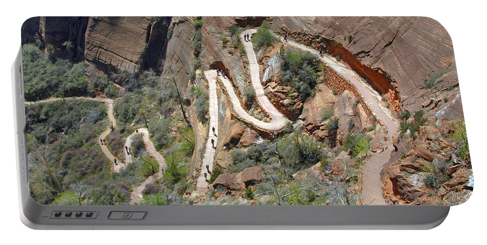 Angels Landing Trail Zion National Park Utah Mountain Mountains Tree Trees Winding Trails Curve Curves Landscape Landscapes Portable Battery Charger featuring the photograph Highway To Heaven by Bob Phillips