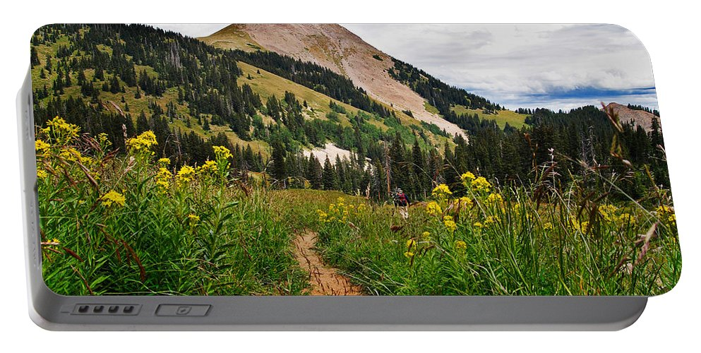 3scape Portable Battery Charger featuring the photograph Hiking In La Sal by Adam Romanowicz