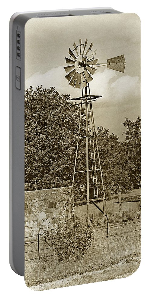 Windmills Portable Battery Charger featuring the photograph Hill Country Windmill by Jim Smith