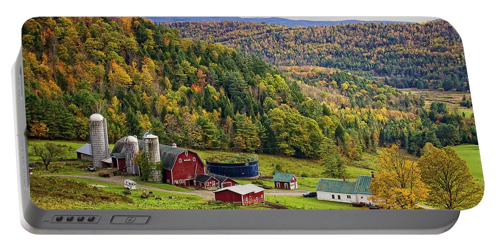 Hillside Acres Farm Portable Battery Charger featuring the photograph Hillside Acres Farm by Priscilla Burgers