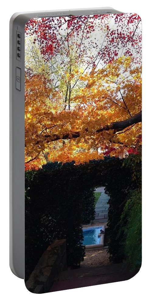 Hillwood Mansion Portable Battery Charger featuring the photograph Hillwood Mansion Fall Garden by Lois Ivancin Tavaf