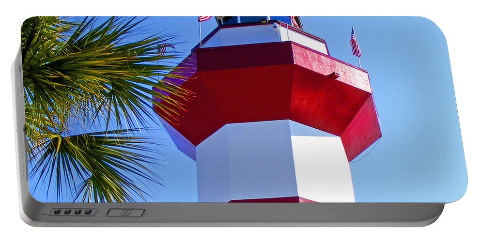 Hilton Head Portable Battery Charger featuring the photograph Hilton Head Lighthouse Upclose by Duane McCullough