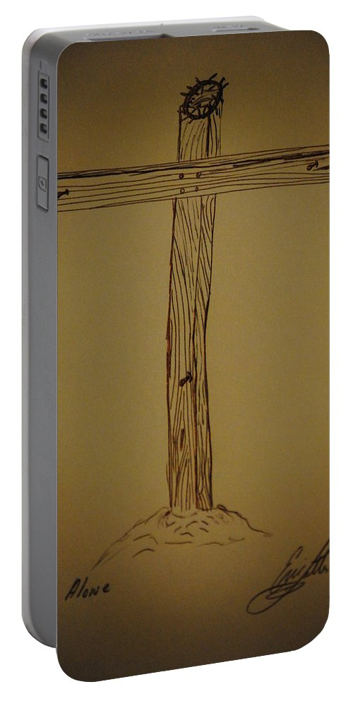 Cross Portable Battery Charger featuring the drawing Him Alone by Eric Liller