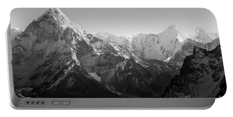 Landscape Portable Battery Charger featuring the photograph Himalaya Mountains Black And White by Tim Hester
