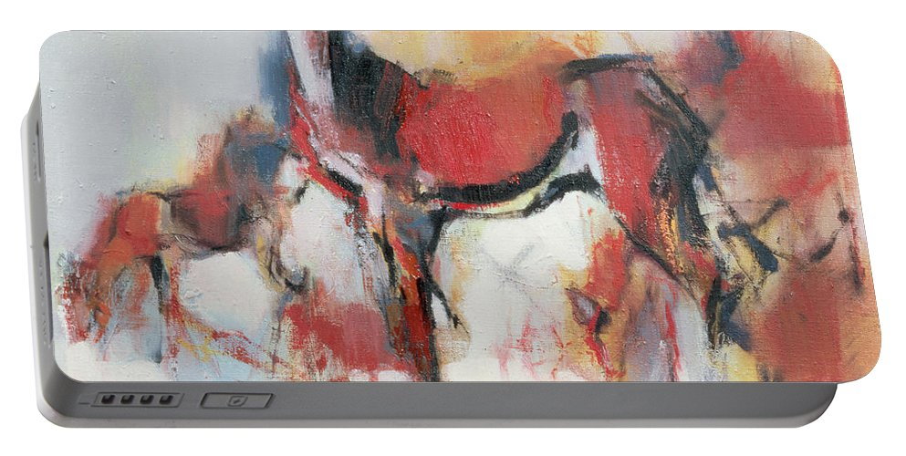 Female Deer Portable Battery Charger featuring the painting Hinds In Winter by Mark Adlington