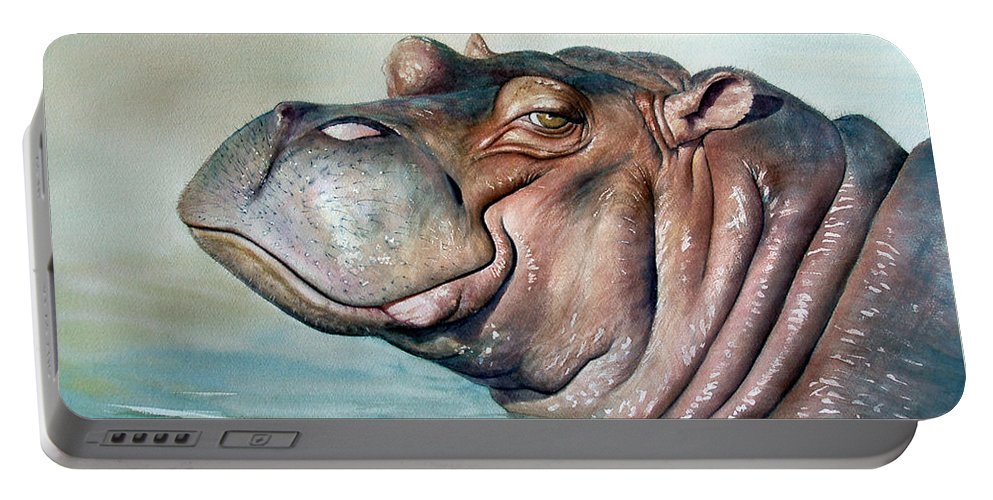 Hippo Portable Battery Charger featuring the painting Hippo Lisa by Joey Nash