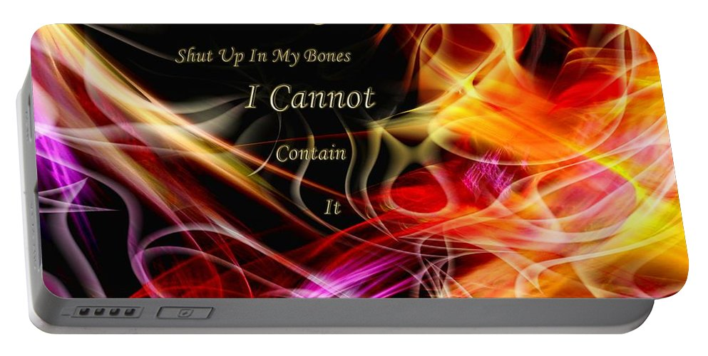 Abstract Portable Battery Charger featuring the digital art His Word In My Heart by Margie Chapman