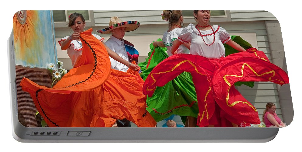 Berry Dairy Days Portable Battery Charger featuring the photograph Hispanic Women Dancing In Colorful Skirts Art Prints by Valerie Garner