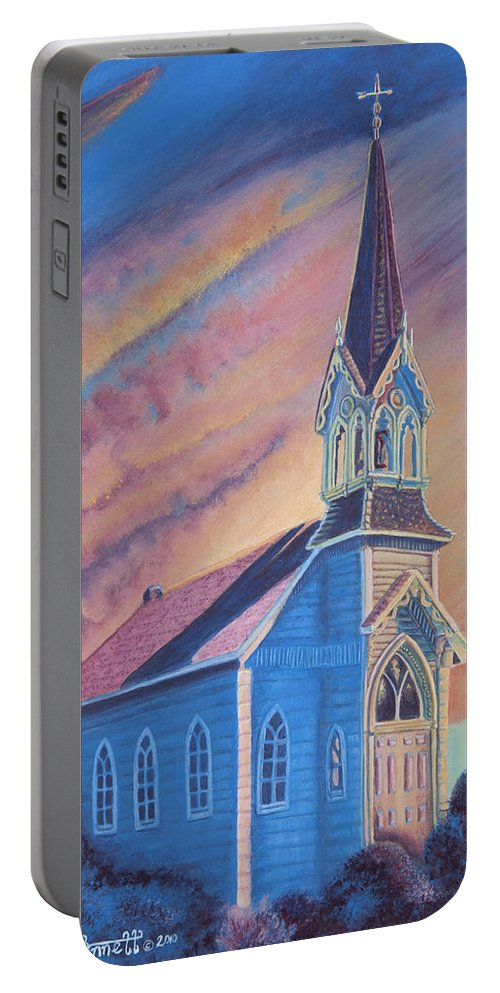 Church Portable Battery Charger featuring the painting Historic Church by Heather Stinnett