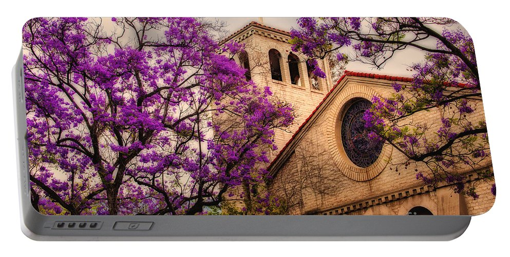 Historic Sierra Madre Congregational Church Among The Purple Jacaranda Trees Portable Battery Charger featuring the photograph Historic Sierra Madre Congregational Church Among The Purple Jacaranda Trees by Jerry Cowart