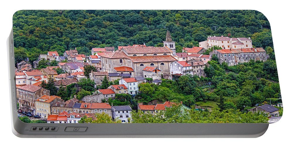 Croatia Portable Battery Charger featuring the photograph Historic Town Of Bakar In Green Forest by Brch Photography