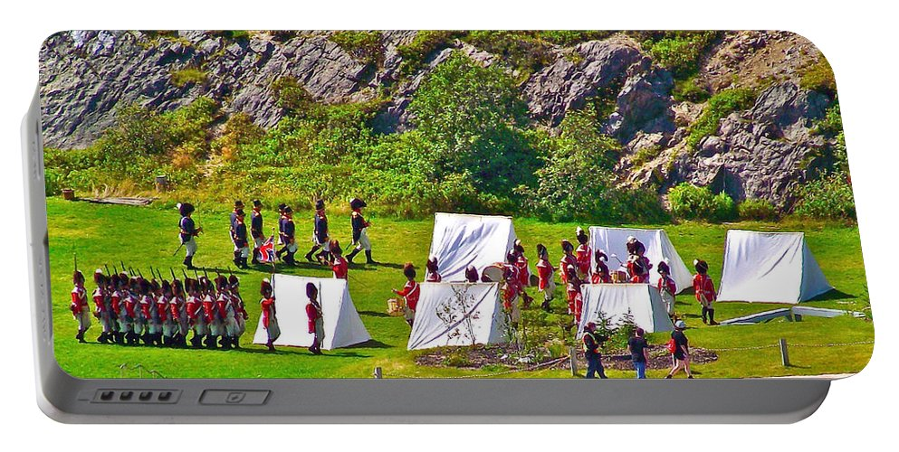 Historical Reenactment Near Visitor's Center In Signal Hill National Historic Site In Saint John's Portable Battery Charger featuring the photograph Historical Reenactment Near Visitor's Center In Signal Hill National Historic Site In St. John's-nl by Ruth Hager