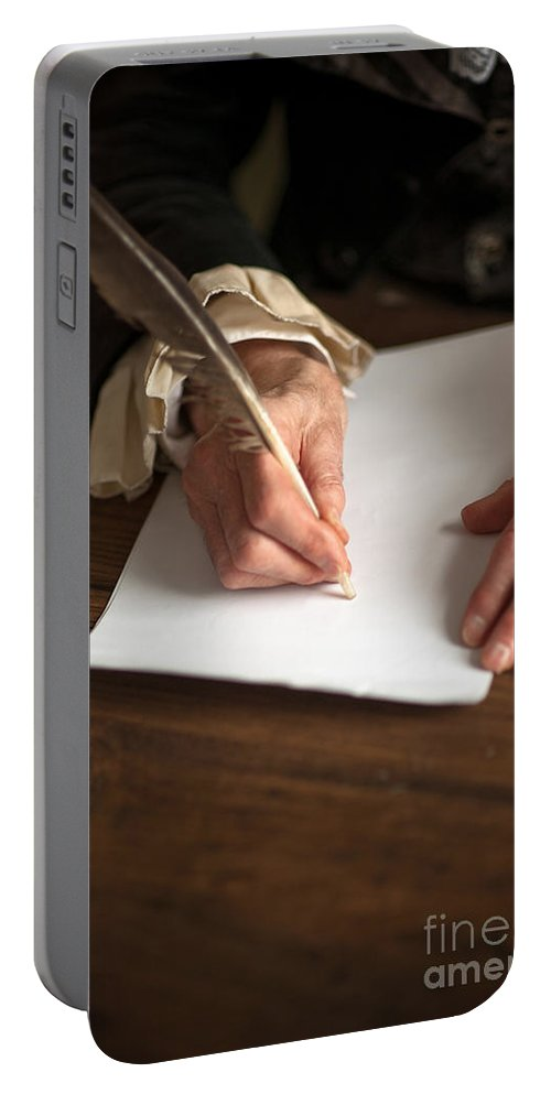 Writing Portable Battery Charger featuring the photograph Historical Senior Man Writing With A Quill Pen by Lee Avison