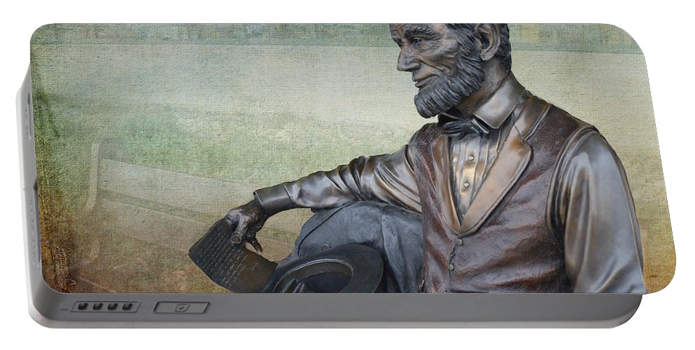 Springfield Illinois Portable Battery Charger featuring the photograph History - Abraham Lincoln Contemplates - Luther Fine Art by Luther Fine Art