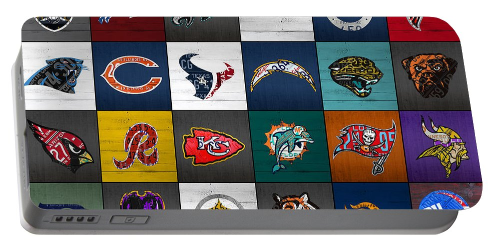 Hit Portable Battery Charger featuring the mixed media Hit The Gridiron Football League Retro Team Logos Recycled Vintage License Plate Art by Design Turnpike