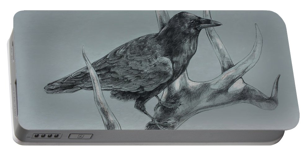 Elk Portable Battery Charger featuring the drawing Hitchhiker Drawing by Derrick Higgins