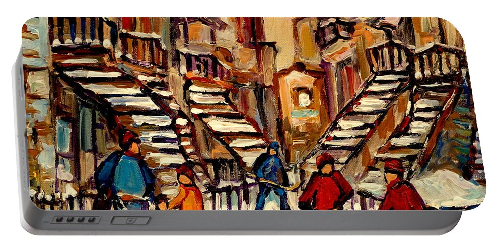Montreal Portable Battery Charger featuring the painting Hockey Game Near Winding Staircases Montreal Streetscene by Carole Spandau