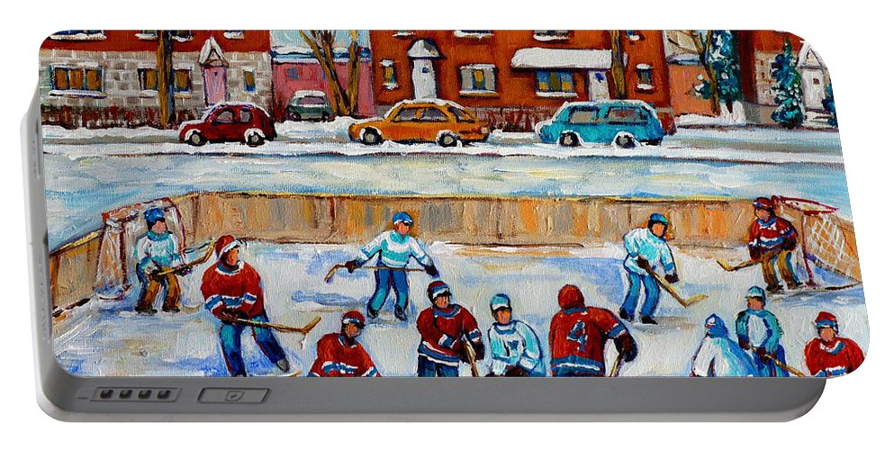 Hockey At Van Horne Montreal Portable Battery Charger featuring the painting Hockey Rink At Van Horne Montreal by Carole Spandau