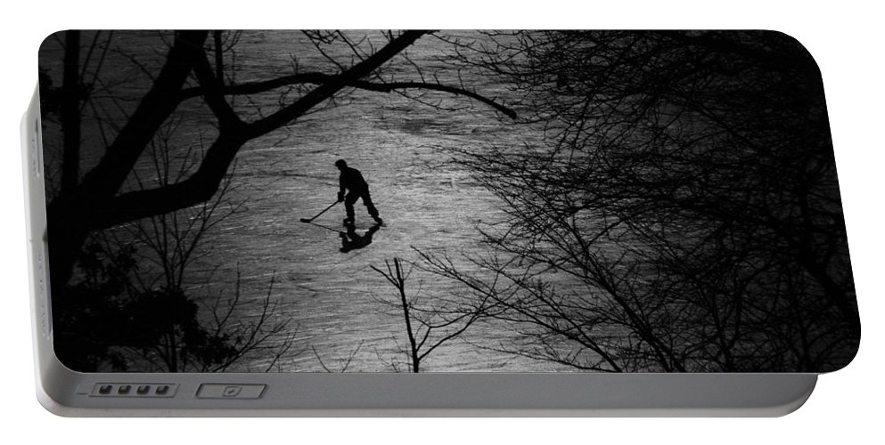 Hockey Portable Battery Charger featuring the photograph Hockey Silhouette by Andrew Fare