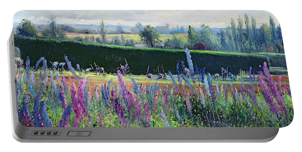 Lupin; Delphinium Portable Battery Charger featuring the painting Hoeing Against The Hedge by Timothy Easton