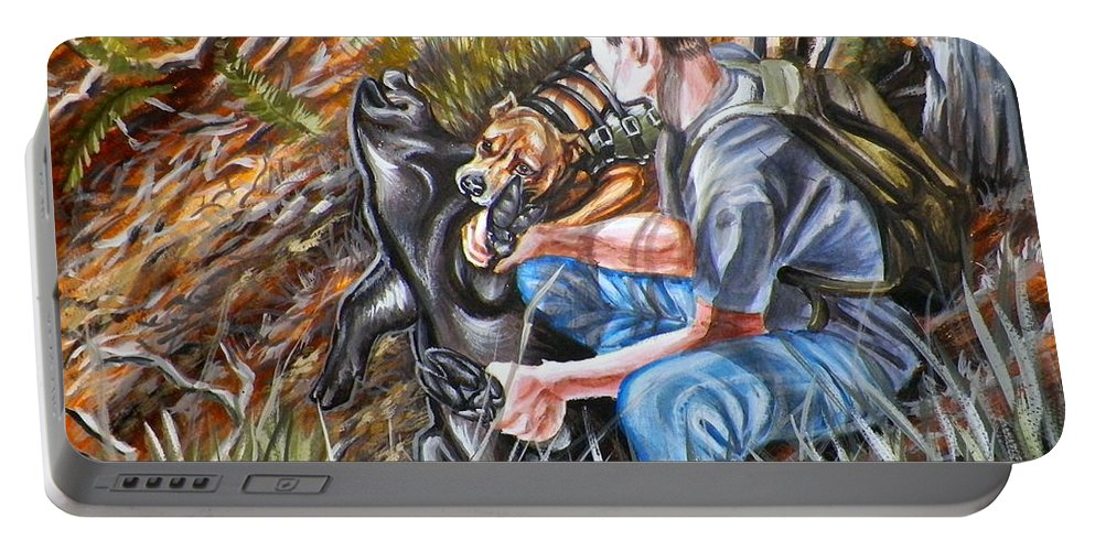 Hog Portable Battery Charger featuring the painting Hogdog And Hunter by Monica Turner