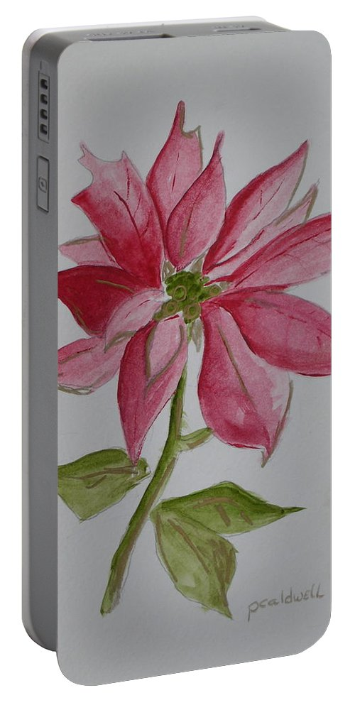 Flower Christmas Portable Battery Charger featuring the painting Holiday Flower by Patricia Caldwell