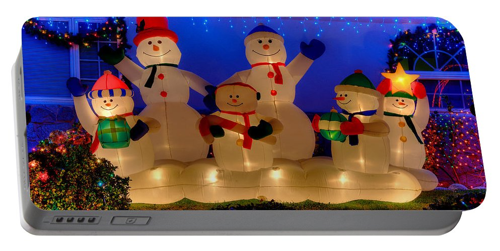 Christmas Decorations Portable Battery Charger featuring the photograph Holiday Snowmen 2 by Richard J Cassato