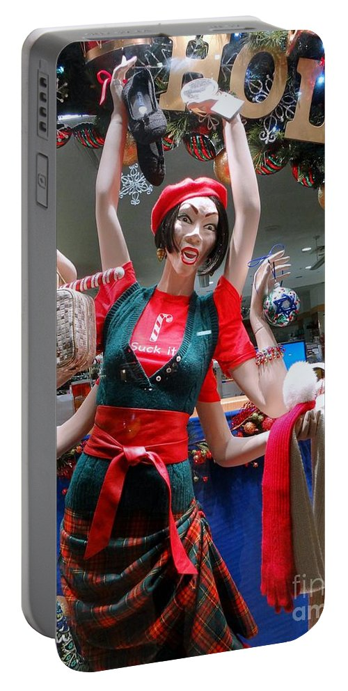 Mannequin Portable Battery Charger featuring the photograph Holiday Stress by Ed Weidman