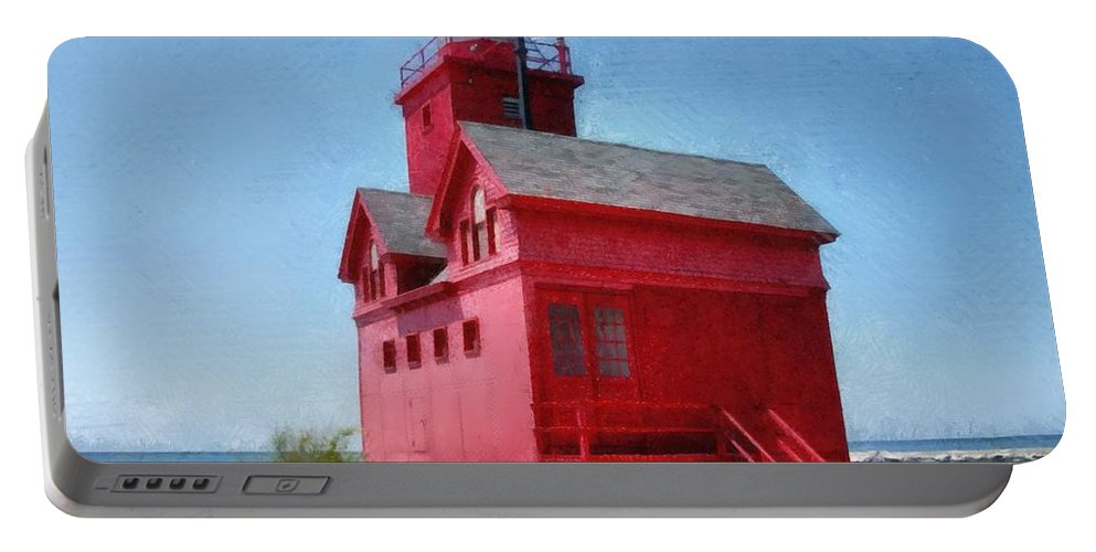 Windows Portable Battery Charger featuring the photograph Holland Harbor And Big Red by Michelle Calkins