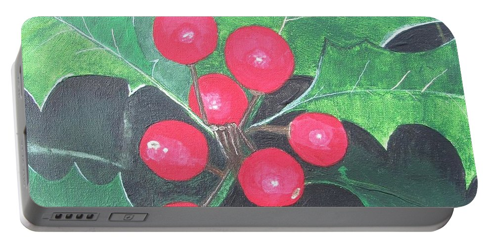 Holly Berries Portable Battery Charger featuring the painting Holly Berries by Sally Rice