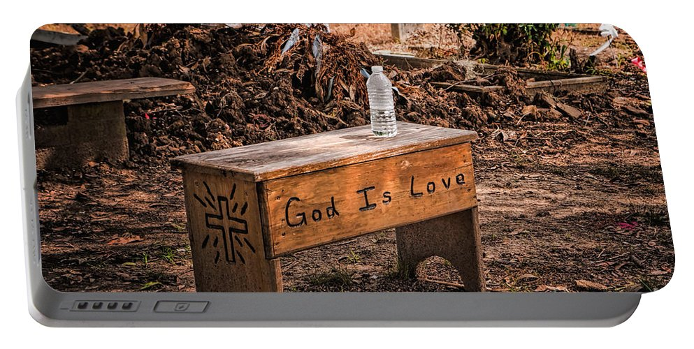 Cemetery Portable Battery Charger featuring the photograph Holt Cemetery - God Is Love Bench by Kathleen K Parker