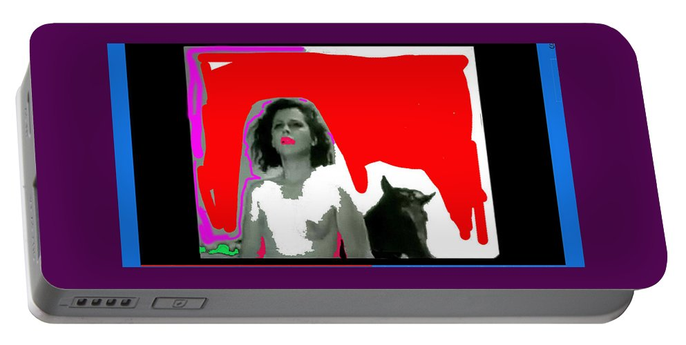 Homage Hedy Lamarr Nude Extasy 1932 Screen Capture Collage 1932 Color Drawing Added Portable Battery Charger featuring the photograph Homage Hedy Lamarr Nude Extasy 1932 Screen Capture Collage 1932-2012 by David Lee Guss
