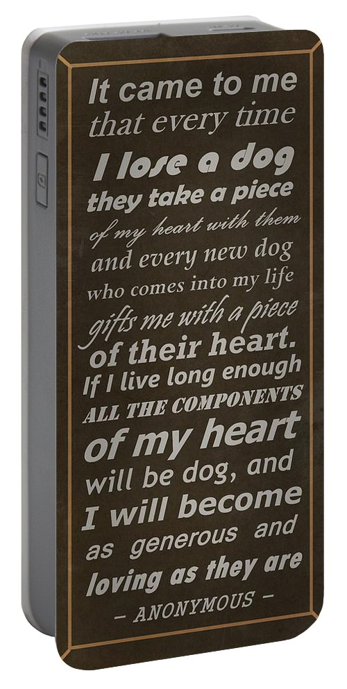 Dog. Dogs Portable Battery Charger featuring the digital art Homage To The Dogs In Our Lives by Movie Poster Prints