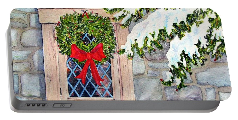 Holidays Portable Battery Charger featuring the painting Home For The Holidays by Mary Ellen Mueller Legault